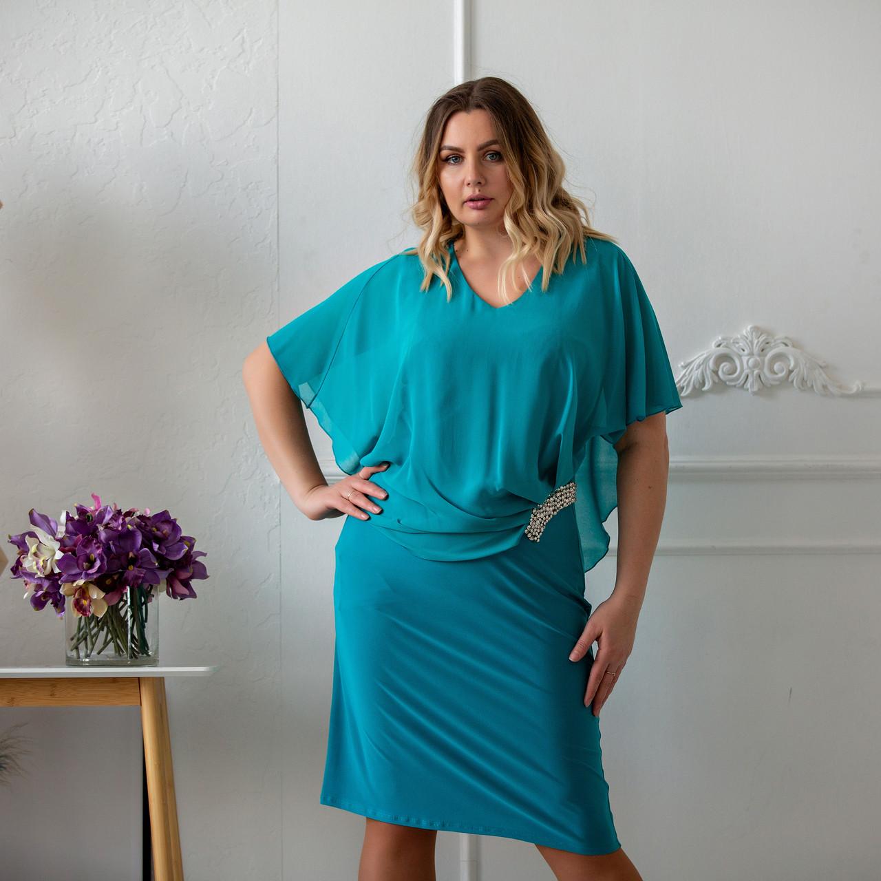 Нарядні сукні великих розмірів 50-58 бірюзовий