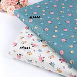 """Сатин тканина """"Одиночні мілкі квіточки"""" на пильно-бірюзовому №3444с, фото 5"""