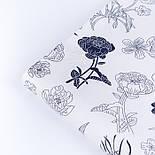 """Сатин тканина """"Темно-сині квіти"""" на білому №3443с, фото 4"""