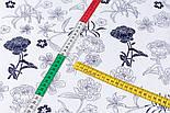 """Сатин тканина """"Темно-сині квіти"""" на білому №3443с, фото 5"""