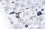 """Сатин тканина """"Темно-сині квіти"""" на білому №3443с, фото 6"""