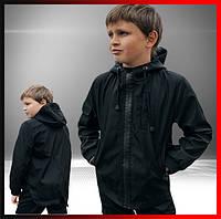 Детская куртка с капюшоном черная для мальчика демисезонная, ветровка на мальчика Easy softshell