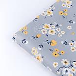 """Сатин тканина """"Жовто-білі квіти"""" на сірому №3439с, фото 4"""