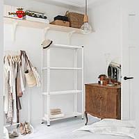 Стеллаж металлический белый 5 полок, стеллаж в офис, торговый стеллаж ELM, стеллаж для дома