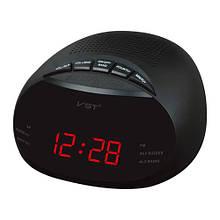 Часы сетевые VST-901-1 красные, радио FM, 220V