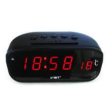 Годинник мережеві VST-803-1 червоні, температура, 220V