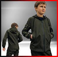 Детская куртка с капюшоном хаки для мальчика демисезонная, ветровка на мальчика Easy softshell