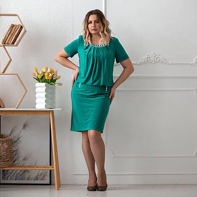 Платье больших размеров для полных женщин  50-60 бирюзовый
