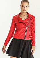Женская куртка косуха кожаная из эко кожи черная яркая красная оверсайз большой размер