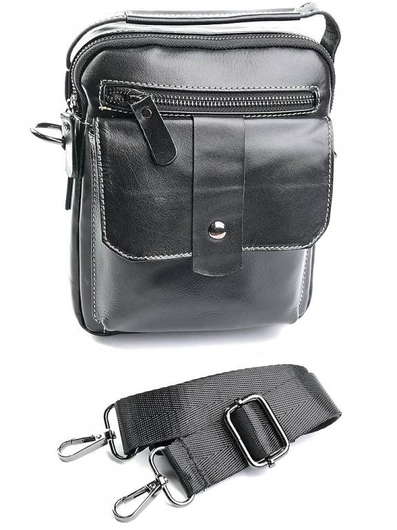 Чоловіча шкіряна сумка через плече 881 чорна