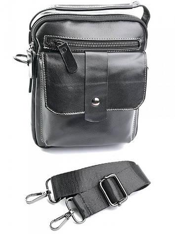 Чоловіча шкіряна сумка через плече 881 чорна, фото 2