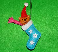 Новорічна іграшка з фетру ручної роботи Носочок, Мишко, Цукерочка - Чобіток - 6 2548, фото 1