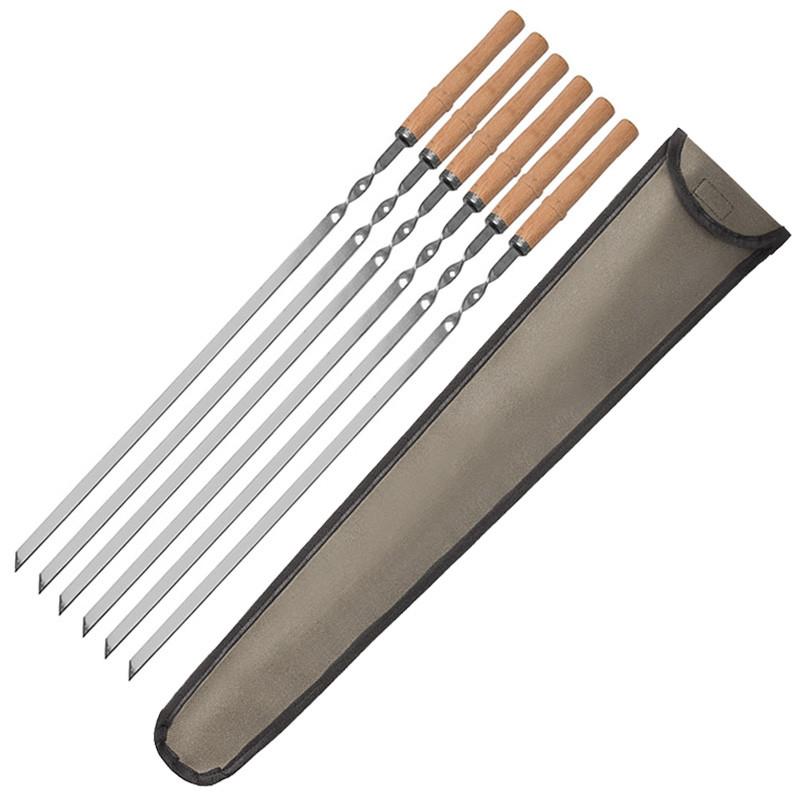 Набір шампурів з чохлом нержавійка 600/10/2 6 шт Дерев'яна ручка