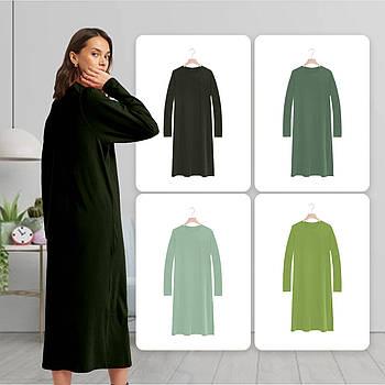 Модное однотоннее платье зеленого цвета (базовый гардероб) ТМ СДВУ модель SD2 с длинным рукавом
