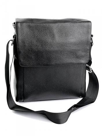 Мужская кожаная сумка через плечо  9168 черная, фото 2