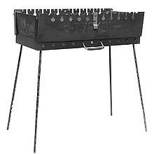Складной мангал чемодан Турист 12 шампуров сталь 2мм с ручкой заводской Украина