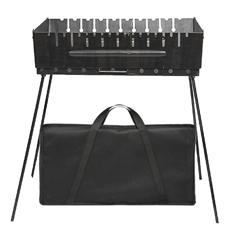 Розбірний мангал валізу на 10 шампурів з чохлом сталь 2 мм