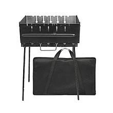 Разборной мангал чемодан на 6 шампуров с чехлом сталь 2 мм