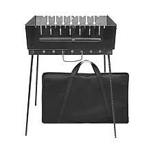 Мангал разборной чемодан на 8 шампуров с чехлом сталь 2 мм