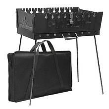 Разборной мангал чемодан Турист 10 шампуров с чехлом сталь 2мм заводской с ручкой