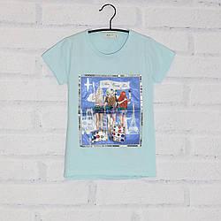 Футболка с коротким рукавом для девочки, с пайетками, рисунок Девушки, оптом ПАК/5шт (128-164), Breeze