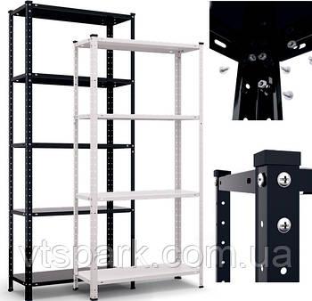 Стеллаж белый/черный 1500/1700х750х300мм, 35кг, 5 полок, металлический, полочный для дома, ванной, офиса