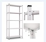 Стеллаж белый/черный 1500/1700х750х300мм, 35кг, 5 полок, металлический, полочный для дома, ванной, офиса, фото 4