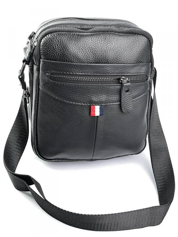 Чоловіча шкіряна сумка через плече 130 чорна