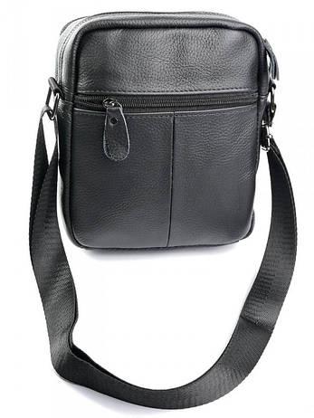 Чоловіча шкіряна сумка через плече 130 чорна, фото 2
