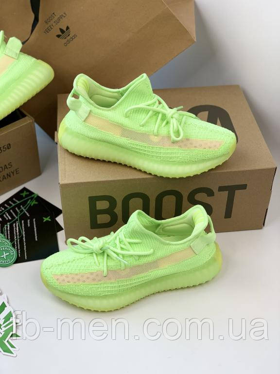 Кроссовки Adidas Yeezy Boost 350 V2 Glow   Мужские текстильные кроссовки Адидас Изи Буст 350 Салатовые