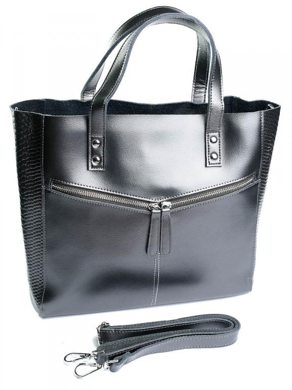 Женская кожаная сумка 8713-1 Bright серая