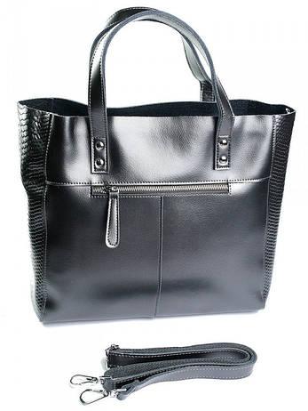Женская кожаная сумка 8713-1 Bright серая, фото 2