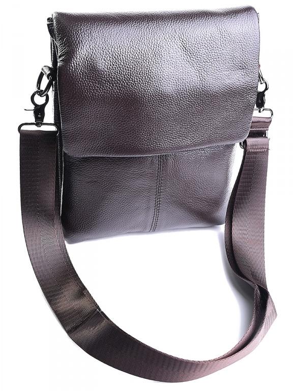 Чоловіча шкіряна сумка через плече 2055 коричнева