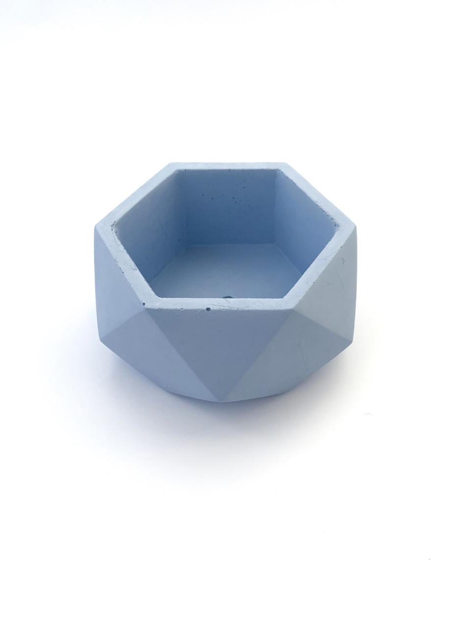 Бетонный горшок Decoline v-250 мл.(голубой) B1001-3