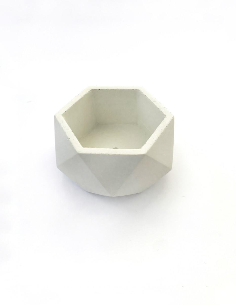 Бетонный горшок Decoline v-125 мл. (белый) B1002-1