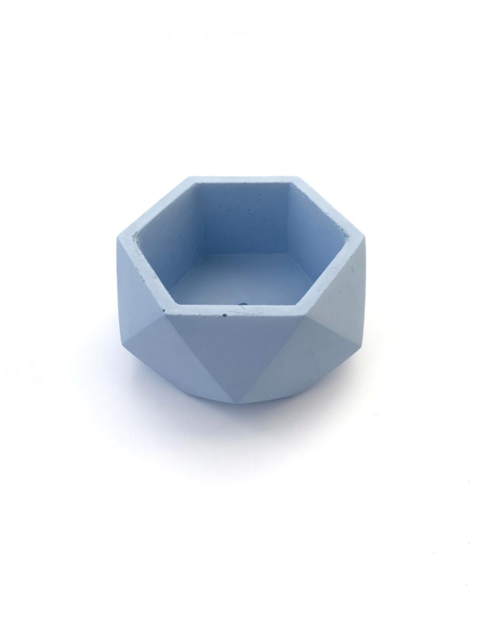 Бетонный горшок Decoline v-125 мл. (голубой) B1002-3