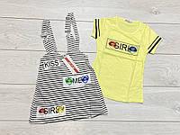 Костюм для дівчаток. (Катоновый комбінезон і футболка). 158/164 зростання.
