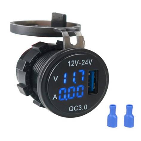 USB зарядка з вольтметром і амперметром A6020, фото 2