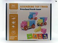 Конструктор деревянный, логическая игра для детей грузовики