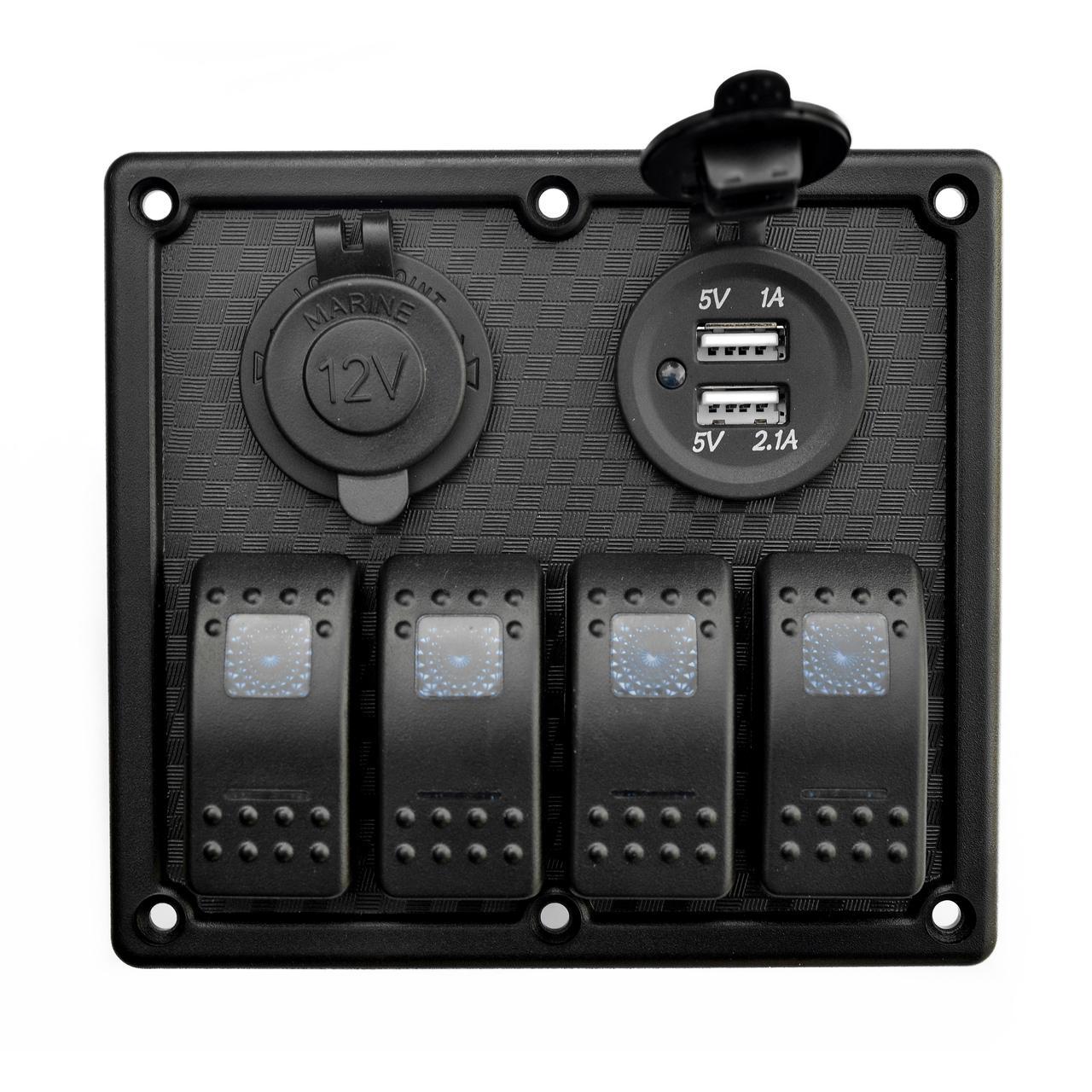 Панель судовая на 4 переключателя автомат 70х110мм + прикуриватель и двойной USB порт HF60-324B