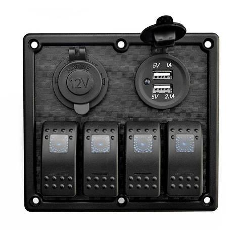 Панель судовая на 4 переключателя автомат 70х110мм + прикуриватель и двойной USB порт HF60-324B, фото 2