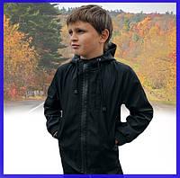 Детская куртка черная для мальчика весна/осень, спортивная ветровка на мальчика Easy softshell