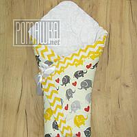 Демисезонный конверт-плед на выписку верх, подкладка 100% хлопок утеплитель холлофайбер 90х90 2910 Желтый
