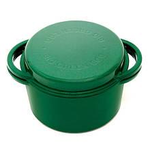 Казан котел з чавуну круглої форми для гриля 4 л зеленого кольору Big Green Egg 117045