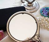 Антикварне посріблене ручне дзеркало, дзеркало з ручкою, сріблення, флористичний дизайн, США, фото 6