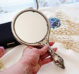 Антикварне посріблене ручне дзеркало, дзеркало з ручкою, сріблення, флористичний дизайн, США, фото 7