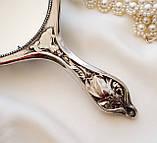 Антикварне посріблене ручне дзеркало, дзеркало з ручкою, сріблення, флористичний дизайн, США, фото 8