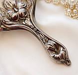 Антикварне посріблене ручне дзеркало, дзеркало з ручкою, сріблення, флористичний дизайн, США, фото 4