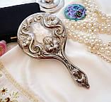 Антикварне посріблене ручне дзеркало, дзеркало з ручкою, сріблення, флористичний дизайн, США, фото 9