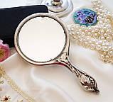 Антикварне посріблене ручне дзеркало, дзеркало з ручкою, сріблення, флористичний дизайн, США, фото 5